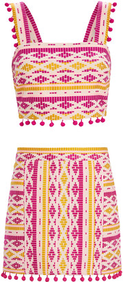 Saylor Dahlia Pom-Pom Embroidered Set