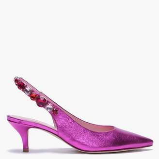 Kennel + Schmenger Kennel & Schmenger Foxley Pink Metallic Leather Jewelled Sling Back Heels