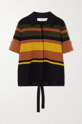 Victoria Victoria Beckham Striped Cotton-blend Top