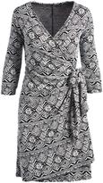 Glam Black & White Geo Three-Quarter-Sleeve Wrap Dress - Plus Too