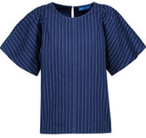 MiH Jeans Mina Gathered Striped Cotton-Canvas Top