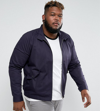 Asos Design PLUS Harrington Jacket With Funnel Neck In Navy