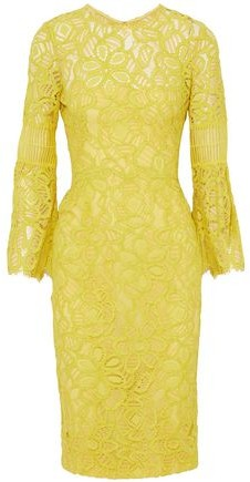 Lela Rose Lattice-paneled Corded Lace Dress