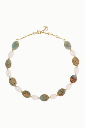 Anissa Kermiche Gold-plated, Serpentine And Pearl Anklet