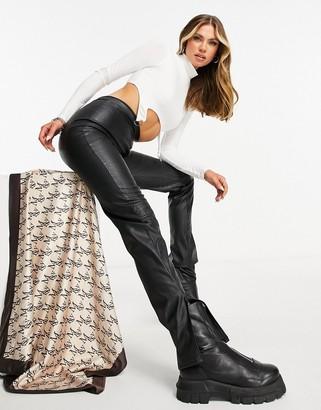 Missy Empire PU mock croc skinny pants with side splits in black