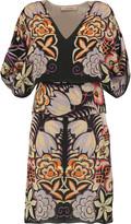 Etro Layered printed silk-chiffon mini dress