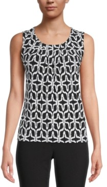 Kasper Petite Printed Pleat-Neck Top