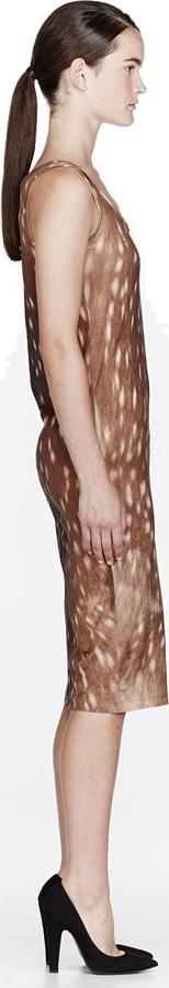 Carven Brown Jersey Fawn Print Dress