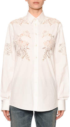Dolce & Gabbana Long-Sleeve Button-Front Lace-Inset Poplin Blouse