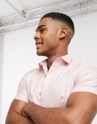 Jack and Jones short sleeve smart stretch shirt in pink