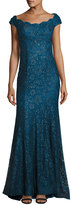 La Femme Cap-Sleeve Sequin Lace Evening Gown, Dark Teal