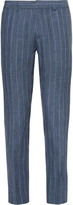 Club Monaco Blue Sutton Slim-Fit Striped Slub Linen Trousers