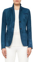 Akris Punto Notch-Collar Two-Button Suede Blazer, Tarn