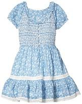Polo Ralph Lauren Floral Smocked Cotton Dress (Little Kids) (Blue/White) Girl's Clothing
