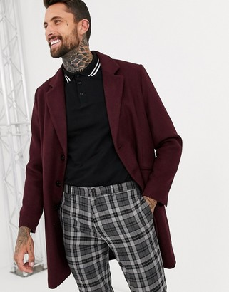 ASOS DESIGN wool mix overcoat in port
