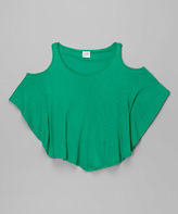 Erge Green Cutout Slub Top - Girls