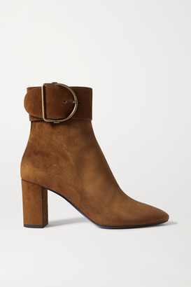 Saint Laurent Charlie Buckled Suede Ankle Boots - Brown