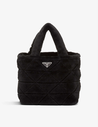 Prada Branded-plaque shearling pouch and tote bag