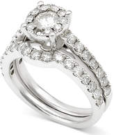 Macy's Diamond Halo Bridal Set (1-1/2 ct. t.w.) in 14k White Gold
