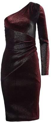 Theia One-Shoulder Metallic Cocktail Dress