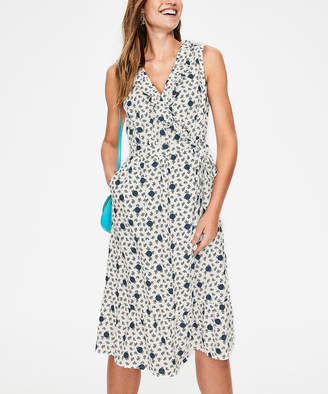 Boden Women's Casual Dresses IRS - Ivory Floral Nancy Floral Linen Midi Dress - Women, Women's Tall & Petite