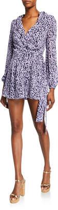 MICHAEL Michael Kors Printed Blouson-Sleeve Ruffle Wrap Jumpsuit
