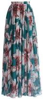 Jessica CC Women's Floral Printed Chiffon Skirt Vintage Casual Maxi Skirt