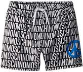 Moschino Kids All Over Logo Print Swim Shorts w/ Peace Sign Boy's Swimwear