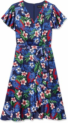 Tahari ASL Women's Short Sleeve Surplus Ruffled Floral Dress