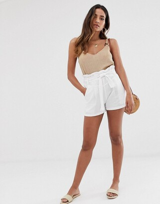 Stradivarius STR linen tie waist shorts in white