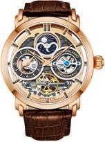 Stuhrling Original Men's Rosetone Luciano Skeleton Watch, Leather Strap