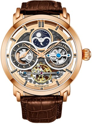 Stuhrling Original Men's Rosetone Luciano Skeleton Watch, Leather Strap
