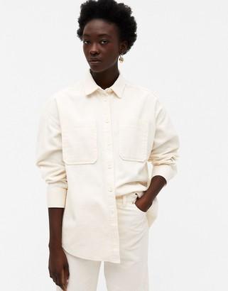 Monki Conny-Li cord shirt in white