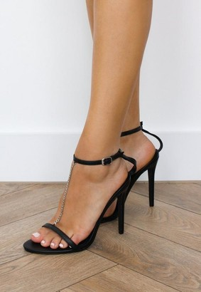 Missguided Black Chain T Bar Heeled Sandals