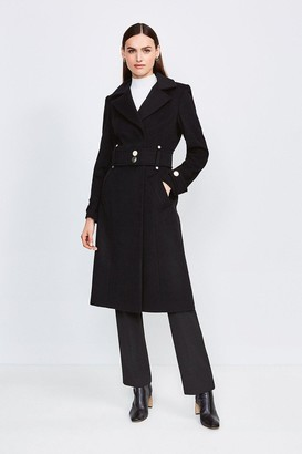 Karen Millen Minimal Military Italian Wool Blend Coat
