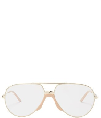 Gucci Aviator-frame Metal Glasses - Gold