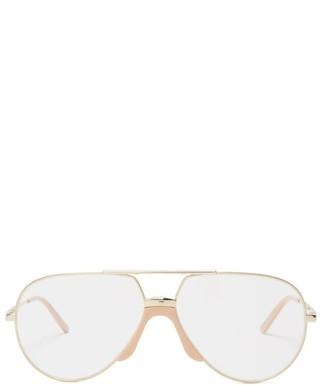 Gucci Aviator-frame Metal Glasses - Mens - Gold