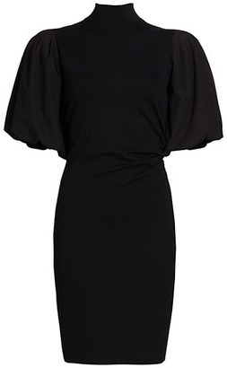 Gestuz Puff-Sleeve Turtleneck Dress