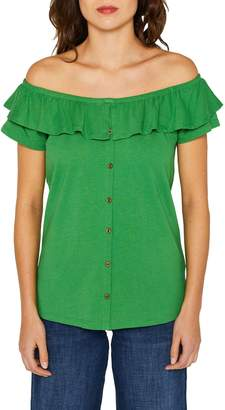 Esprit Off-The-Shoulder Ruffle Top with Buttons in Cotton/Linen