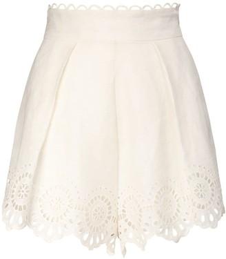 Zimmermann Bellitude Scalloped Linen Shorts