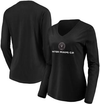Women's Fanatics Branded Black Inter Miami CF Team Primary Logo Long Sleeve V-Neck T-Shirt