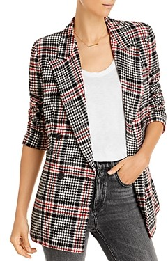 Aqua Plaid Double Breasted Button Front Jacket - 100% Exclusive