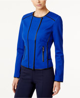 INC International Concepts Faux-Leather-Trim Moto Jacket, Only at Macy's