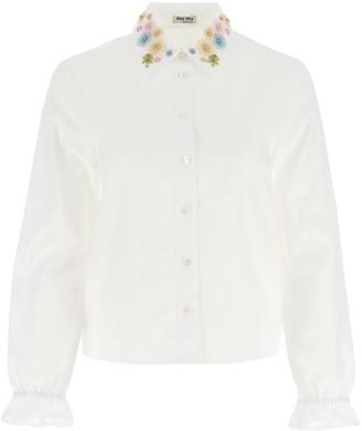 Miu Miu Floral Embroidered Shirt