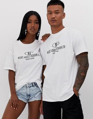 Night Addict unisex oversized logo t-shirt-White