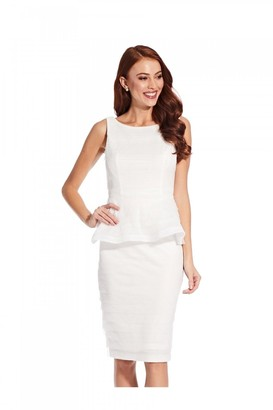 Adrianna Papell Petal Peplum Dress In Ivory