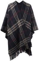 Golden Goose Deluxe Brand checked brooch detail cape - men - Virgin Wool/Mohair/Alpaca/Polyamide - One Size