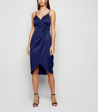 New Look Blue Vanilla Bow Wrap Dress