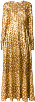 Tory Burch embroidered maxi dress - women - Silk/Polyester/Metallic Fibre - 4