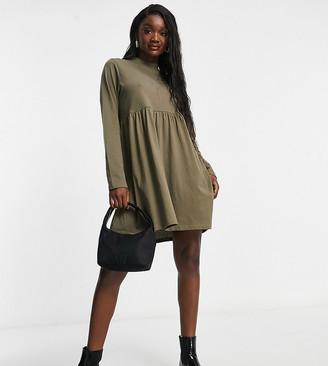 Brave Soul Tall Lizzie high neck smock dress in khaki